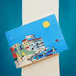 Handmade paper sketchbook of Amalfi with cover customize with a morning view of the town of Amalfi
