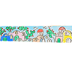 Bookmark in Amalfi paper with watercolor illustration of the typical houses of the Amalfi coast.