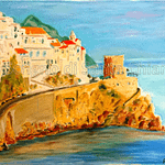 Last lights in Amalfi - Painting on Amalfi paper by Andrea Pascucci