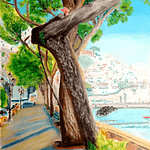 Oil painting on paper of Amalfi - Title: Good morning Amalfi - Author: Andrea Pascucci