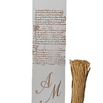 Elegant Amalfi paper wedding place holder personalized with the initials of the bride and groom