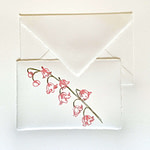 Placeholder with handmade engraving in floral theme and Amalfi paper envelope