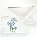 Place cards with flowers for wedding reception in Amalfi handmade paper and matching envelope.