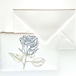 Placeholder with blue rose in Amalfi paper and matching ivory envelope