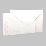 """Amalfi paper invitation card with """"Cherry blossom"""" motif. Ivory color. Size 15x21"""
