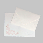 Invitation decorated with cherry blossoms in Amalfi handmade paper and matching envelope. Ivory color. Size 12x18